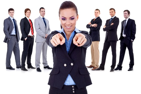 Photo pour business woman pointing to you and choosing for her team - image libre de droit
