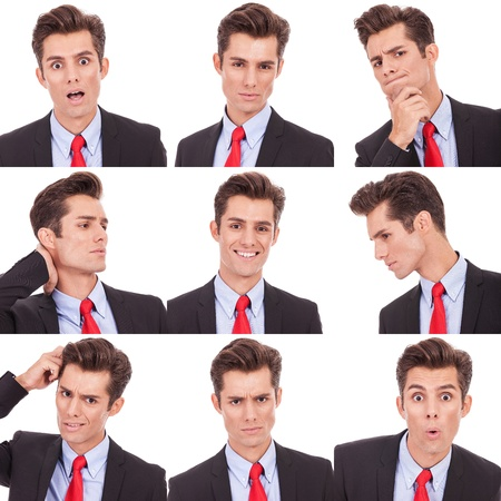 Collage group picture of many business man facial emotional expressions