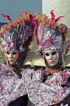 Two ladies with carnival suit for Venice carnival 2010, Italy (vertical)