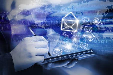 Photo pour Business woman are sending email marketing by using digital tablet - image libre de droit