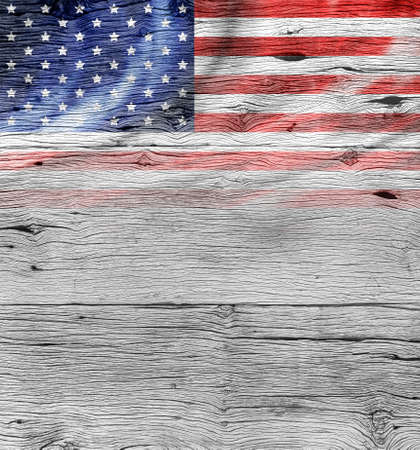 Foto de USA flag on old wood background - Imagen libre de derechos