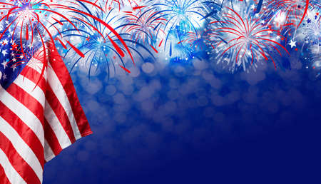 Photo for USA flag with fireworks background for 4 july independence day - Royalty Free Image