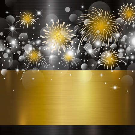 Ilustración de Happy new year design on metal background vector illustration - Imagen libre de derechos
