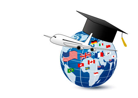 Illustration for Study abroad concept design of airplane and world education with national flag on white background vector illustration - Royalty Free Image