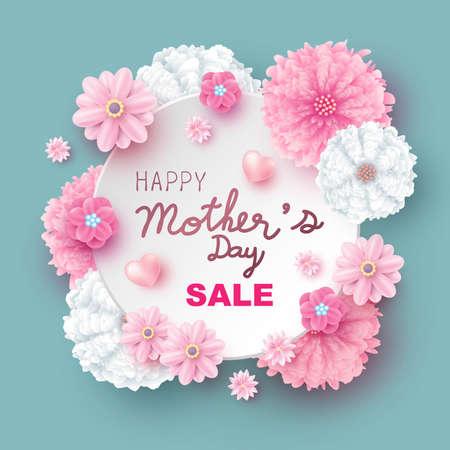 Illustration for Mother's day sale design of flowers vector illustration - Royalty Free Image