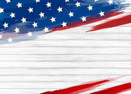 Illustration pour American flag paint on white wood background vector illustration - image libre de droit