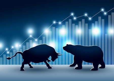 Ilustración de Stock market design of bull and bear with graph and chart vector illustration - Imagen libre de derechos