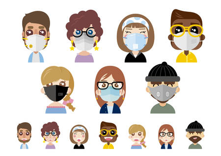 Ilustración de People wearing dust masks on white background vector illustration - Imagen libre de derechos