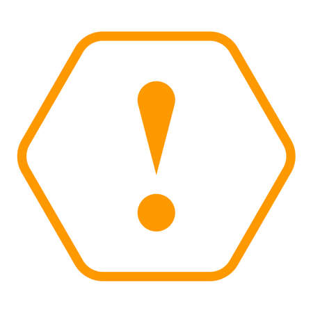 Ilustración de Use it in all your designs. Thin line style exclamation mark icon warning sign attention button in hexagon shape. Vector illustration a graphic element for web internet design. - Imagen libre de derechos
