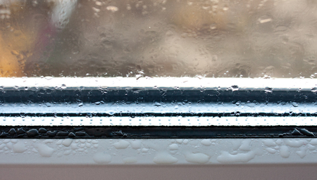Photo for Background photo of increased condensation on the glass, water droplets on the windows, horizontal view, high quality and detail - Royalty Free Image