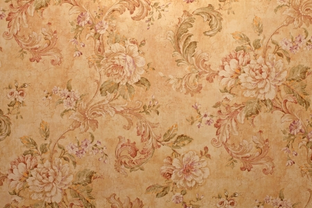 Foto per Vintage golden run-down victorian wallpaper with baroque floral pattern - Immagine Royalty Free