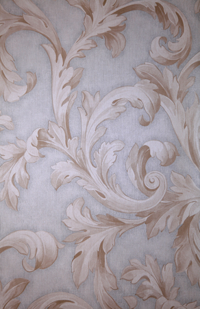 Photo for Vintage grey victorian wallpaper with beige baroque vignette - Royalty Free Image