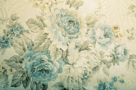 Photo for Vintage wallpaper with blue floral victorian pattern, toned image - Royalty Free Image