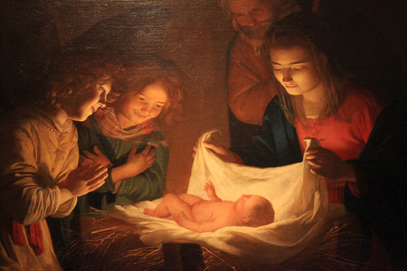 Photo pour FLORENCE, ITALY - JANUARY 10, 2016:  Adoration of the Child Gerard van Honthorst (Gherardo delle Notti) Christmas Painting, Uffizi Gallery, Florence, Italy. - image libre de droit