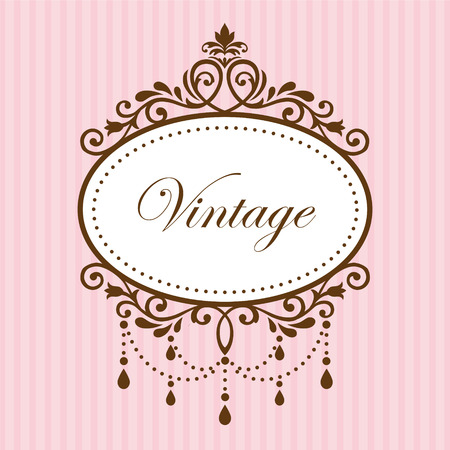 Photo for Chandelier vintage frame on pink background - Royalty Free Image