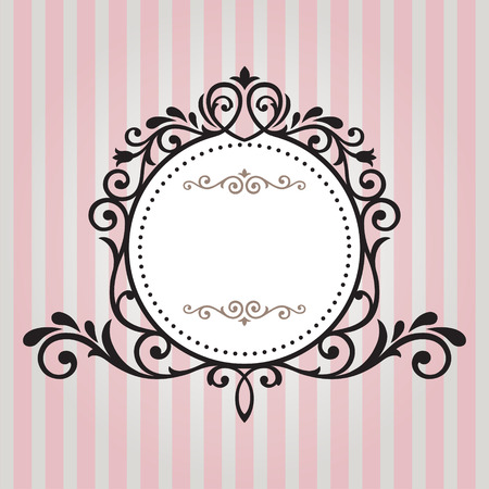 Photo pour Vintage frame on pink stripe background - image libre de droit