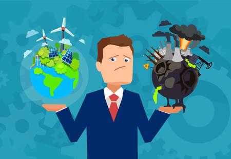 Ilustración de Flat design vector of a man holding healthy and prosperous earth in comparison with damaged planet making choice.  - Imagen libre de derechos