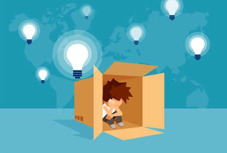 Illustrazione per Concept vector illustration of kid sitting alone in box and thinking on problem.  - Immagini Royalty Free