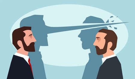Illustration pour Psychology of lies concept. Man with long nose lying another guy - image libre de droit