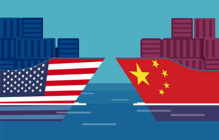 Ilustración de China and United States trade war concept. Vector of two cargo ships. Taxation of import and exports - Imagen libre de derechos