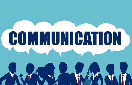 Illustrazione per Group of young businesspeople speaking together with dialog speech bubbles above head. Communication, teamwork and connection vector concept - Immagini Royalty Free