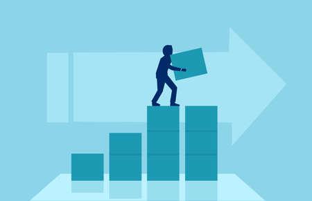 Illustration pour Business concept of growth, success. Vector of a businessman building steps for his corporate career. - image libre de droit