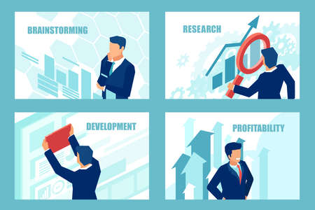 Illustrazione per Presentation business slide templates for websites or mobile apps. Vector of a successful businessman brainstorming for new profitable opportunities. - Immagini Royalty Free