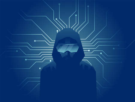 Illustration pour Virtual reality modern technology concept. Vector of a man in VR headset glasses on dark background with lines of internet network connections. - image libre de droit