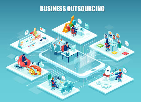 Illustrazione per Global outsourcing, distributed team, freelance job.concept. Vector of company employee working in different offices managed remotely by a leader.  - Immagini Royalty Free