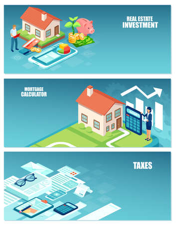Ilustración de Real estate investment, home buyer costs and taxes calculations banner set concept - Imagen libre de derechos