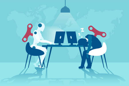 Illustration pour Vector of a working robot vs sleepy businessman working on computer. Artificial intelligence advantages concept - image libre de droit