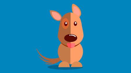 Ilustración de Smiling dog with tongue sticking out vector illustration with blue background. - Imagen libre de derechos