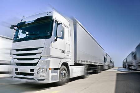 Modern  Truck on road added motion blur