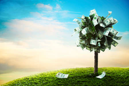 Photo pour photo of tree made of dollars - image libre de droit