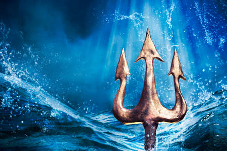 Photo for Poseidon's trident emerging from the sea, Photo composite - Royalty Free Image