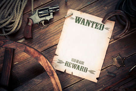 Photo for Empty  Blank wanted sign with old west items - Royalty Free Image