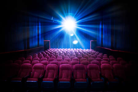 Photo for Movie Theater with empty seats and projector / High contrast image - Royalty Free Image