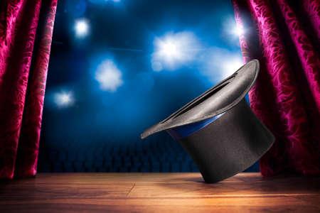 Foto de photo composite of a magic hat on a stage - Imagen libre de derechos