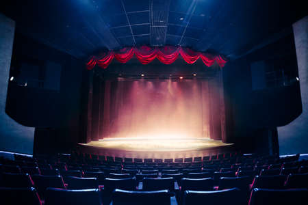 Photo for Theater curtain and stage with dramatic lighting - Royalty Free Image