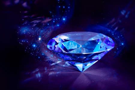 Photo pour luxurious blue diamond shining on a black background - image libre de droit