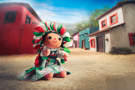 Foto de Mexican rag doll in a traditional dress - Imagen libre de derechos