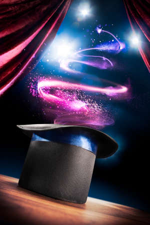 Photo pour photo composite of a magic hat on a stage - image libre de droit
