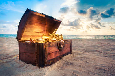 Photo for open treasure chest with shinny gold - Royalty Free Image