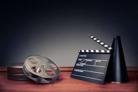 Photo pour movie industry objects on a grey background - image libre de droit