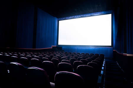 Photo pour Movie Theater with blank screen / High contrast image - image libre de droit