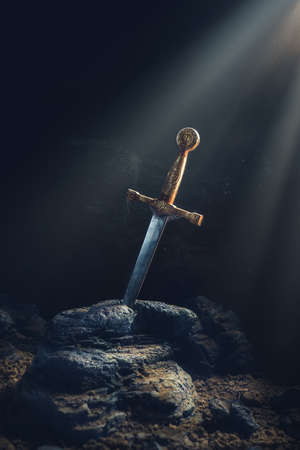 Photo for High contrast image of Excalibur, sword in the stone - Royalty Free Image