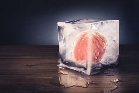 Photo pour brain freeze concept with dramatic lighting - image libre de droit