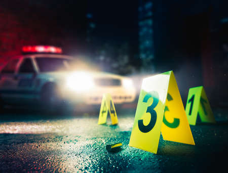 Photo pour police car at a crime scene with evidence markers, high contrast image - image libre de droit