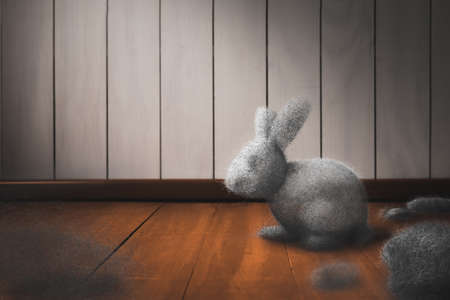 Photo for Cleaning the house concept with dust bunny on a dirty floor / mixed media, 3D Elements in this image - Royalty Free Image