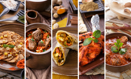 A portrait of various indian food buffet, collage
